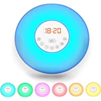 LED Wake up light I Alarm Clock I 7 Colour Bedside Lamp I FM Radio I Snooze Function I with USB cable I Sunrise Sunset Mode I Helps to get up I Mood Lamp I Children's lamp I