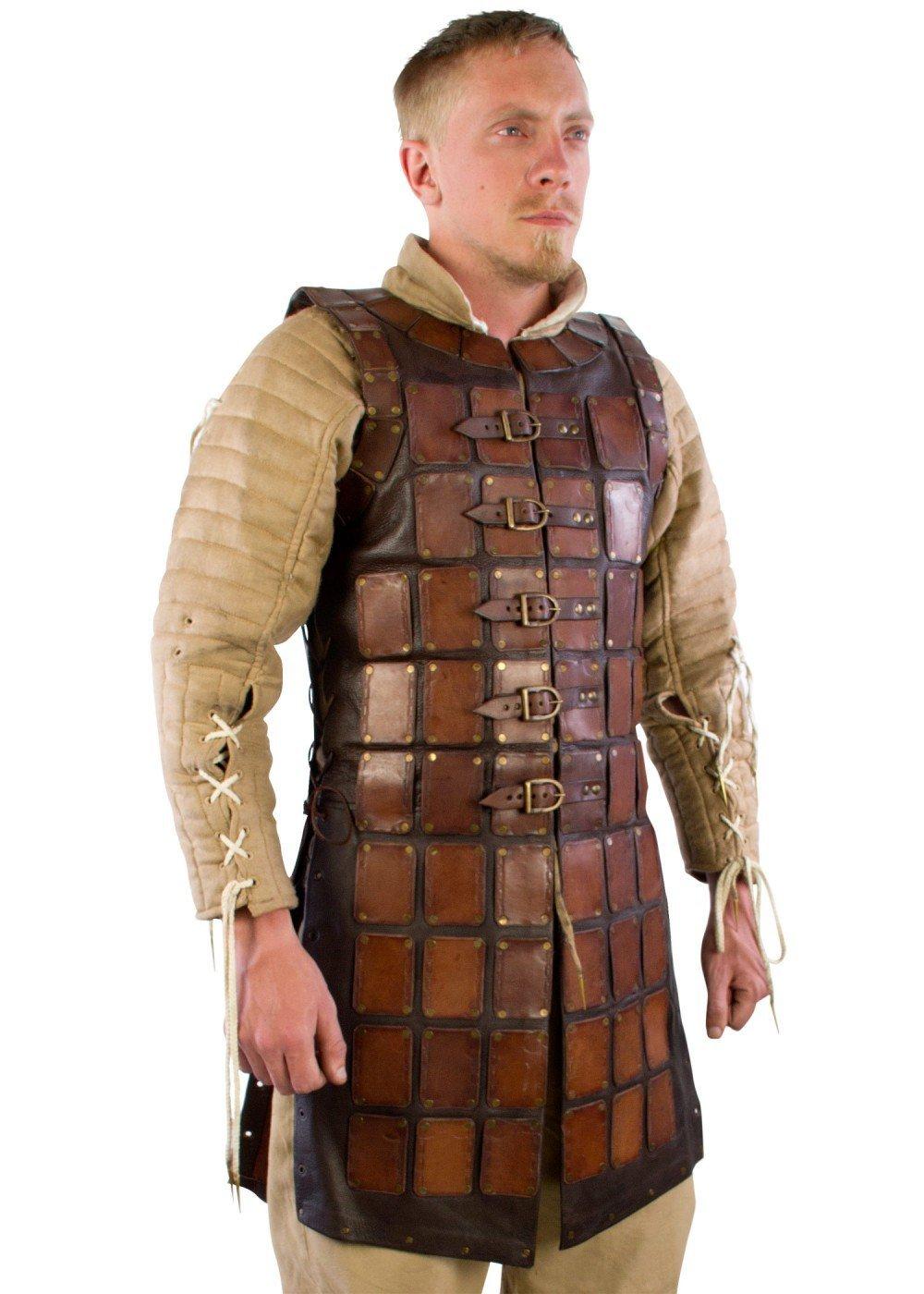 Mittelalterliche Brigantine aus Leder LARP Lederrüstung mit Lederplatten Schwarz oder Braun Gr. S/M oder L/XL Schaukampf Wikinger
