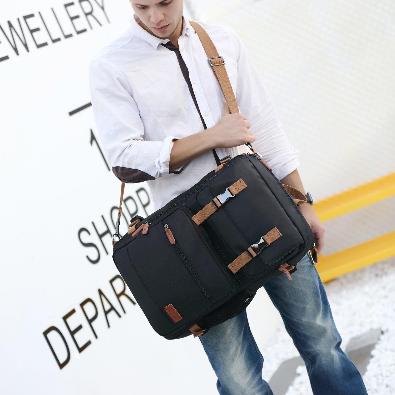 CoolBELL Convertible Briefcase Backpack Messenger Bag Shoulder bag Laptop Case Business Briefcase Travel Rucksack Multi-functional Handbag Fits 17.3 Inch Laptop For Men/Women (Grey) by CoolBELL (Image #4)