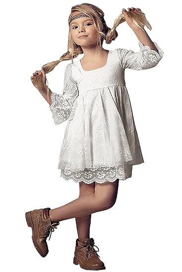 e79629690bd71 Babyonlinedress Elégant Robe de Fille Enfant de Mariage d honneur Soirée  Princesse Noble Col Carré