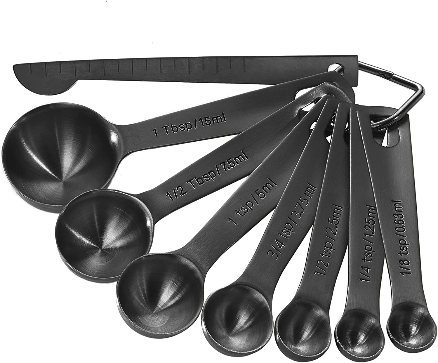Black Measuring Spoons Heavy Duty 18/8 Stainless Steel Measuring Set of 8 with Leveler includes: 1/8 tsp, 1/4 tsp, 1/2 tsp, 3/4 tsp, 1 tsp, 1/2 tbsp, 1 tbsp for Dry and Liquid Ingredients by Homestia: Kitchen & Dining