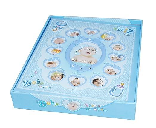 ALBUM DE FOTOS BEBE con estuche, funda, 220 FOTOS, 30 páginas doble cara, niño azul y niña rosa, mi primer año, álbum de memorias para bebé, ideal ...