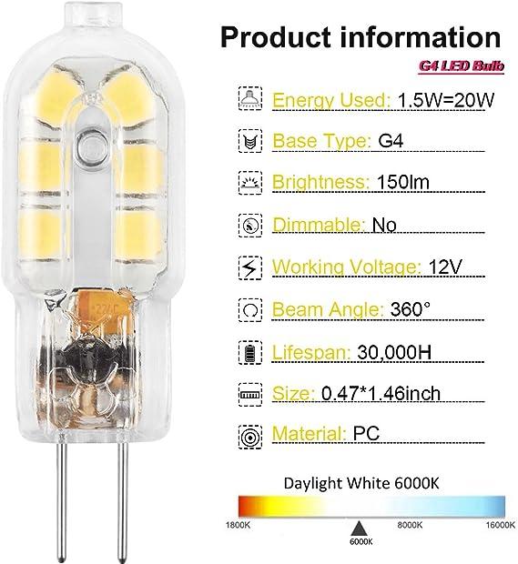 3000k 12volt =20w Energizer 16w G4 Energy Saving Halogen 2pin Capsule Bulb