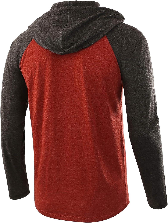 HETHCODE Mens Casual Lightweight Long Sleeve Raglan Henley Jersey Hoodie Shirt
