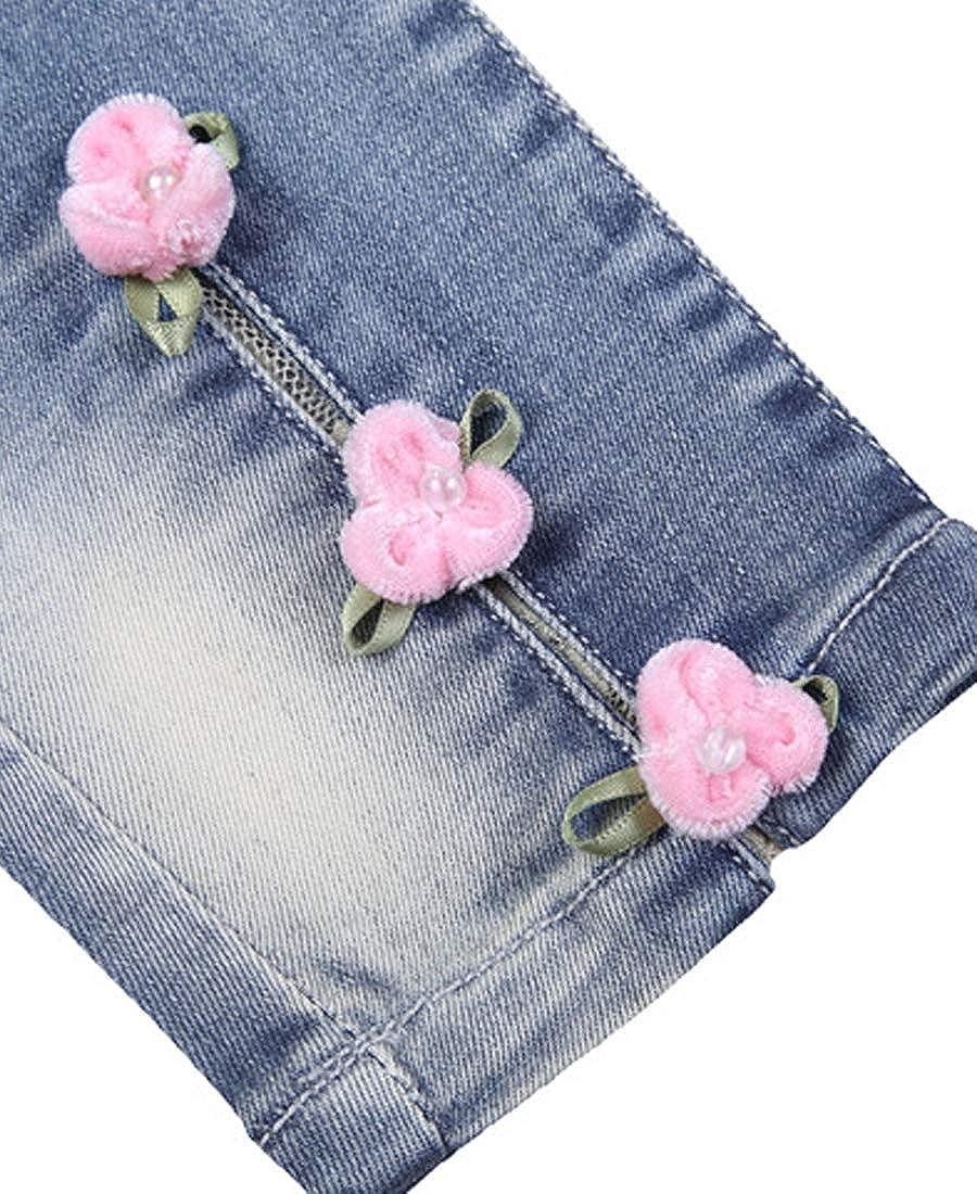 Maxhugoo Little Girls Embroidered Elastic Band Elastic Force Straight Leg Jeans
