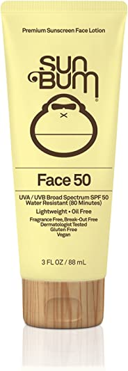 Sun Bum Original SPF 50 Sunscreen Face Lotion    Vegan and Reef Friendly (Octinoxate & Oxybenzone Free) Broad Spectrum Fragr
