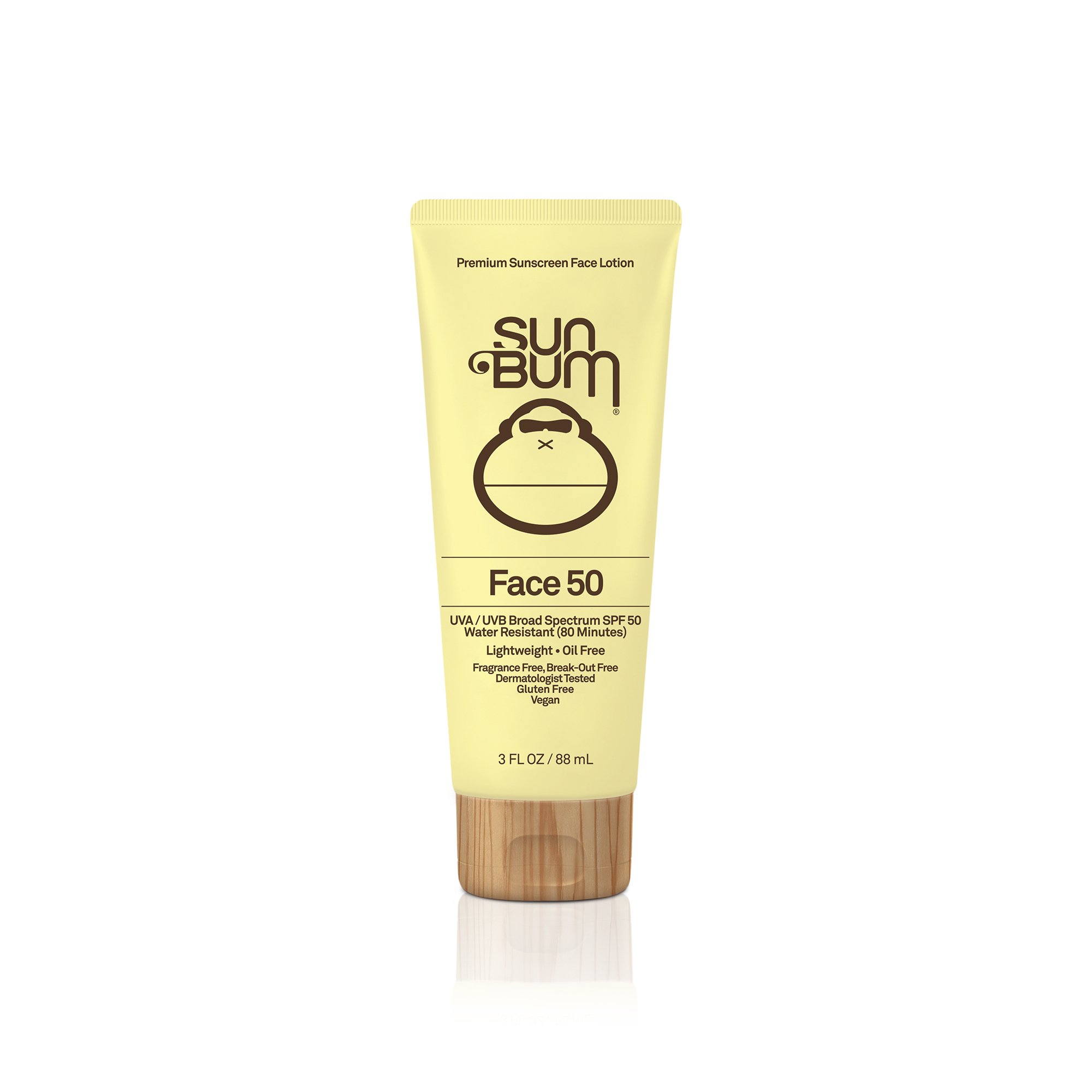 Sun Bum  Face Lotion SPF 50 |Oil Free and  Dermatologist Tested for Sensitive Skin| Reef Friendly Broad Spectrum UVA/UVB Protection |Water Resistant| Gluten Free, Vegan | 3 OZ  Bottle by Sun Bum