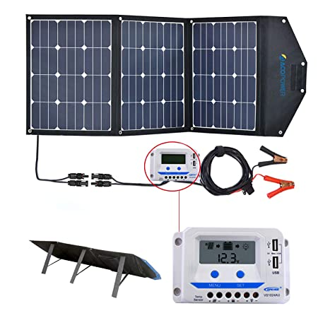 front facing acopower 120w portable solar panels for camping