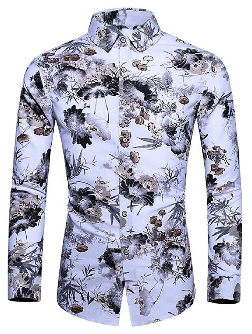 Zantt Mens Casual Long Sleeve Chinese Style Printing Button Up Shirt Top