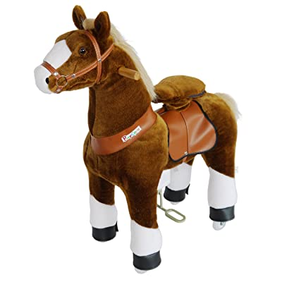 PonyCycle Official Ride-On Horse No Battery No Electricity Mechanical Pony Brown with White Hoof Giddy up Pony Plush Walking Animal for Age 4-9 Years Medium Size - N4151: Toys & Games