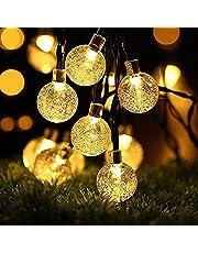 OxyLED Catena Luminosa Solare,60 LED Ghirlanda LED Energia Solare,12m LED Stringa Esterno Impermeabile illuminazione Fata esterno per Natale,Giardino,Portico,Albero,Matrimonio,Festa (Bianco Caldo)