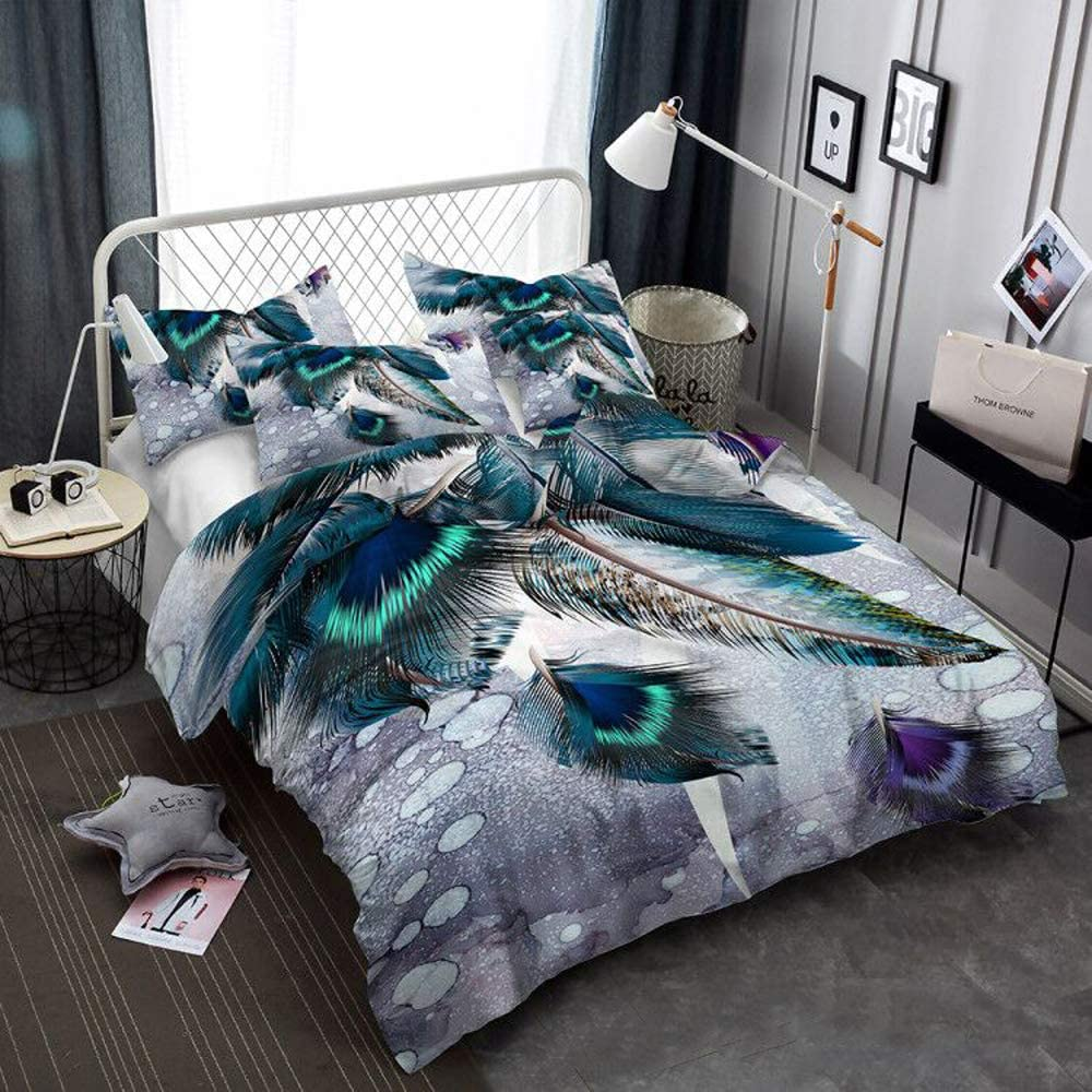 Feather Duvet Cover Kids King Western Colorful Feather Decor Bedding Set Bird Peacock Feather Pattern Printed on White Comforter Quilt Cover for Adult Teen Boys and Girls Decorative Bedding Feathers K