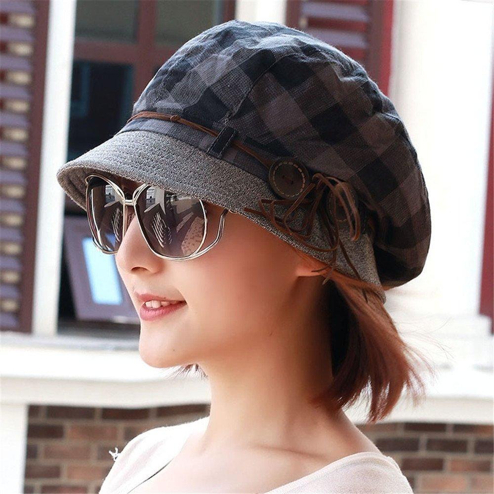Las mujeres en la primavera y otoño precioso fresco hat cap hat fashion Plaid damas cap hat jefe pin...