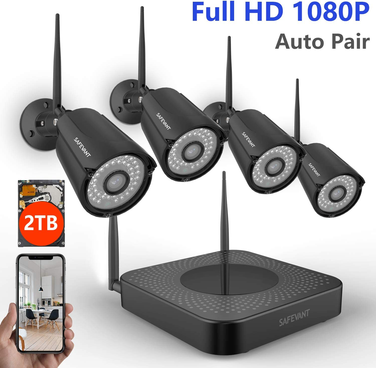Full HD Security Camera System Wireless,Safevant 4CH Security Camera System 1080P 2TB Hard Drive ,4PCS 1080P Indoors Outdoors Wireless Security Cameras Black ,Auto-Pair,Plug Play,NO Monthly Fee