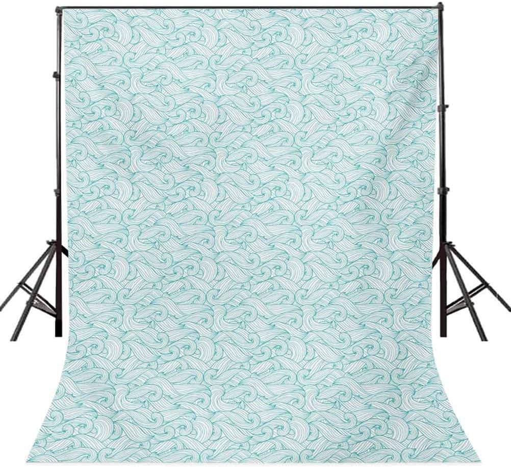 10x12 FT Backdrop Photographers,Ocean Themed Waves Abstract Swirls Curlicues Lines Ornamental Vintage Summer Background for Baby Shower Birthday Wedding Bridal Shower Party Decoration Photo Studio