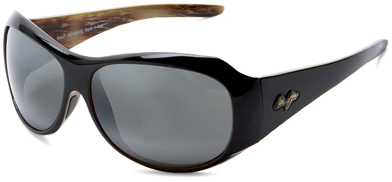 Amazon.com: Maui Jim 203-02 Black Lehua Round Sunglasses ...