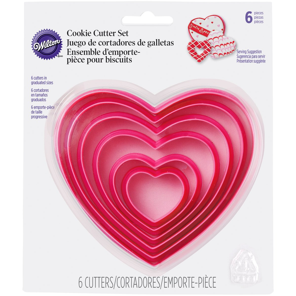 Nesting heart shaped cookie cutters from Wilton.