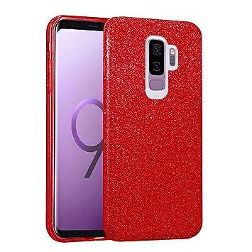 581d5695 Coovertify Funda Purpurina Brillante Red Rose Samsung S9 Plus, Carcasa roja  resistente de Gel Silicona con Brillo Rojo Rosa para Samsung Galaxy S9 ...