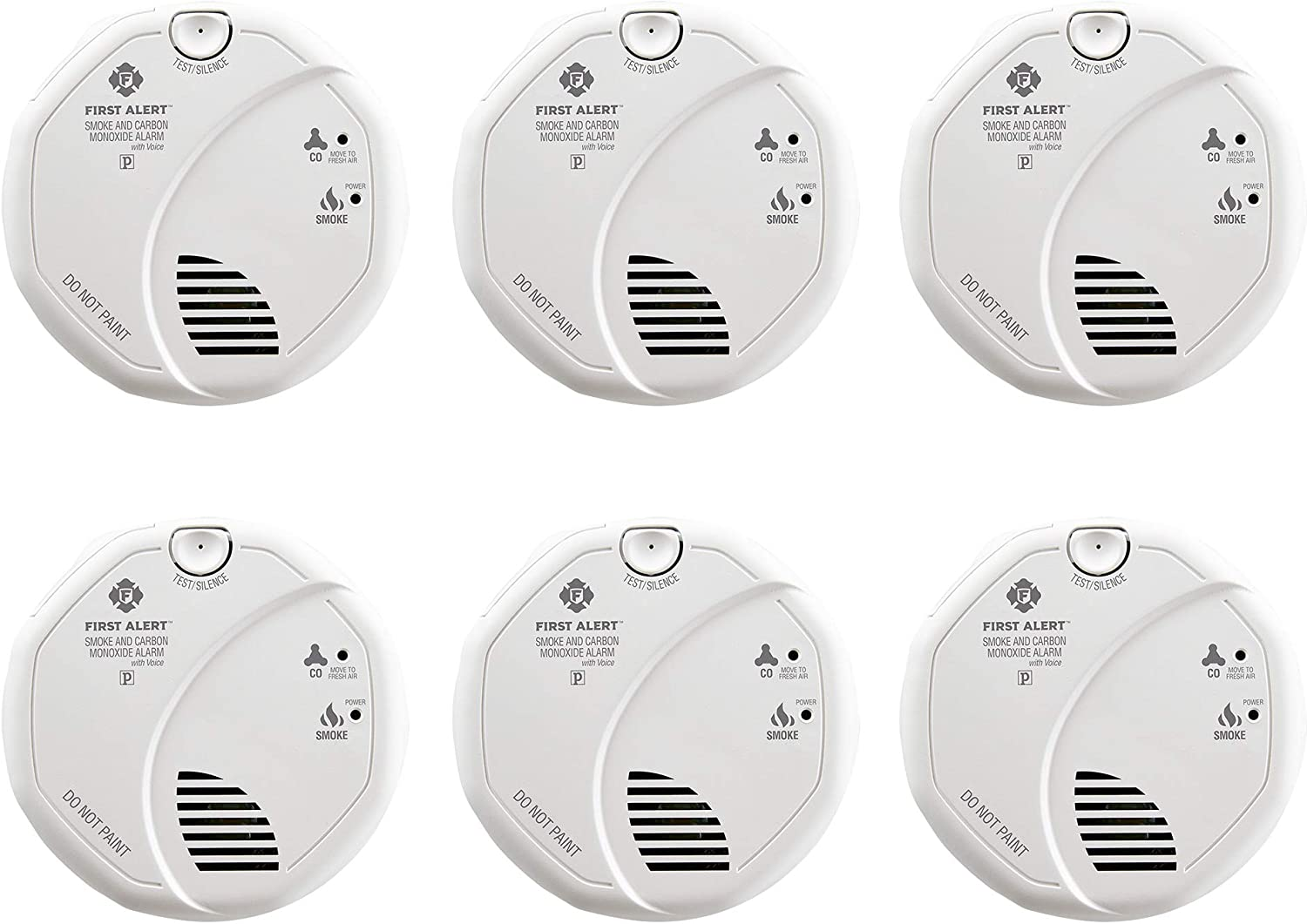 First Alert BRK SC7010BV-6 Hardwired Smoke and Carbon Monoxide (CO) Detector with Photoelectric Sensor, 6-Pack