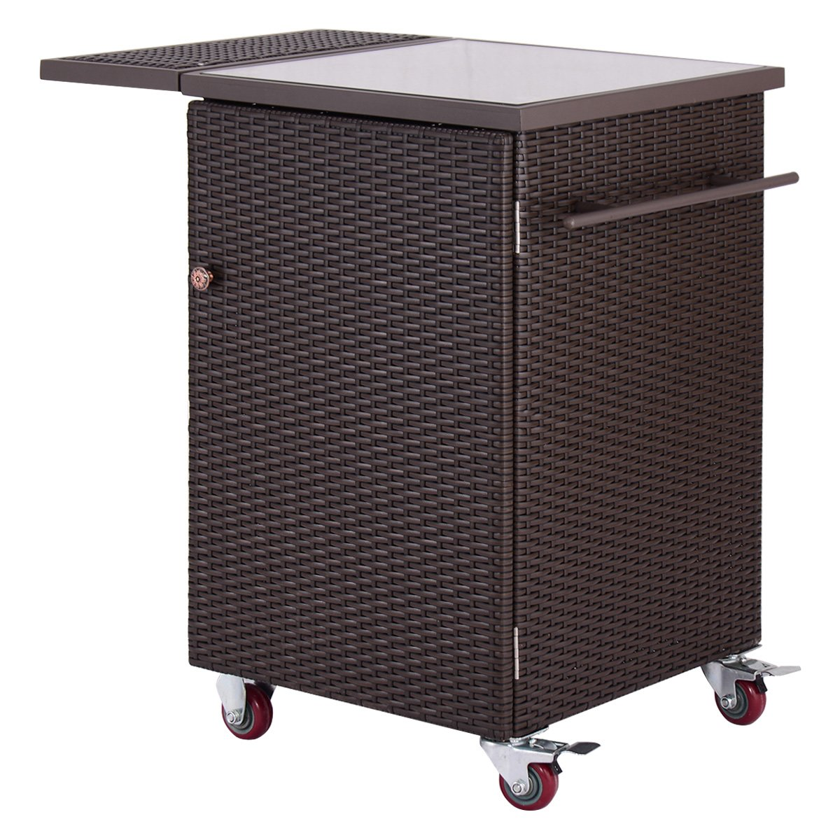 Giantex Brown Rattan Wicker Kitchen Trolley Cart Patio Roller Dining Storage Glass Stand (Brown)