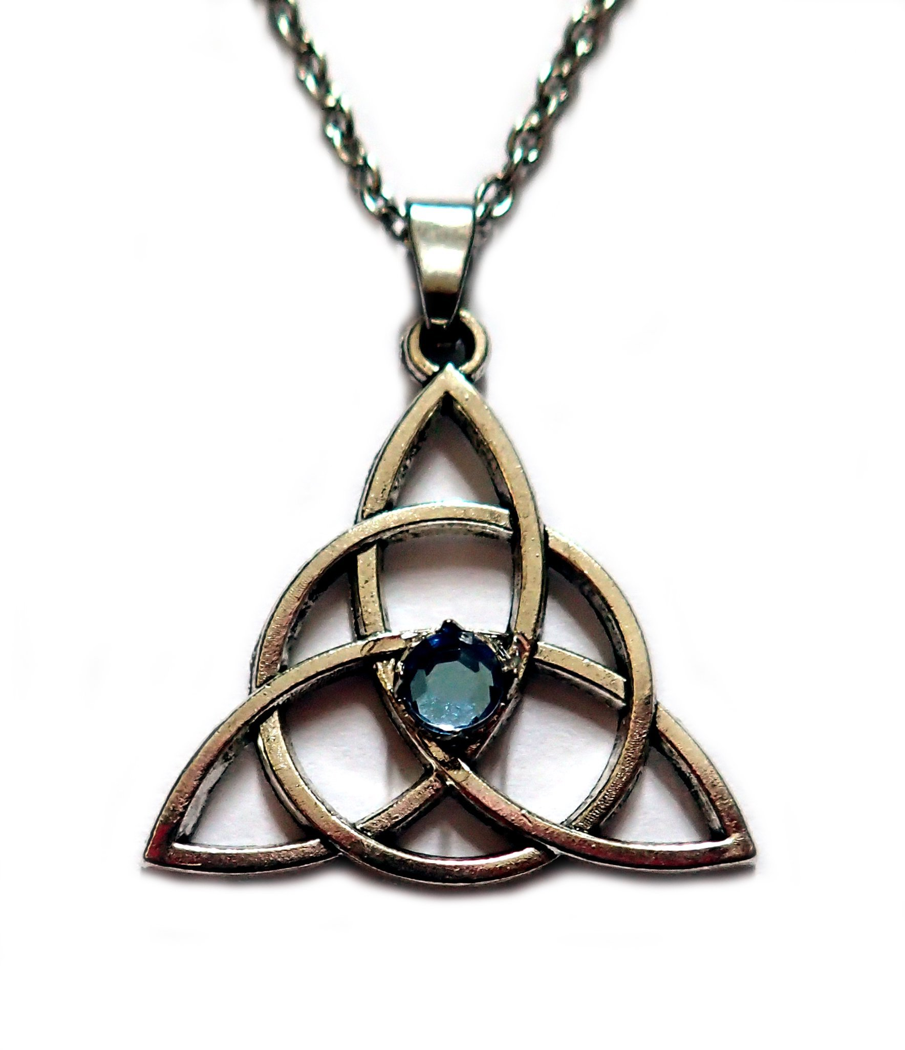 Celtic Triquetra Tinity Knot Silver Pendant Light Blue Stone
