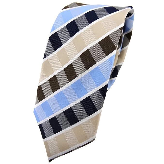 TigerTie - corbata estrecha - beige marrón azul claro blanco rayas ...