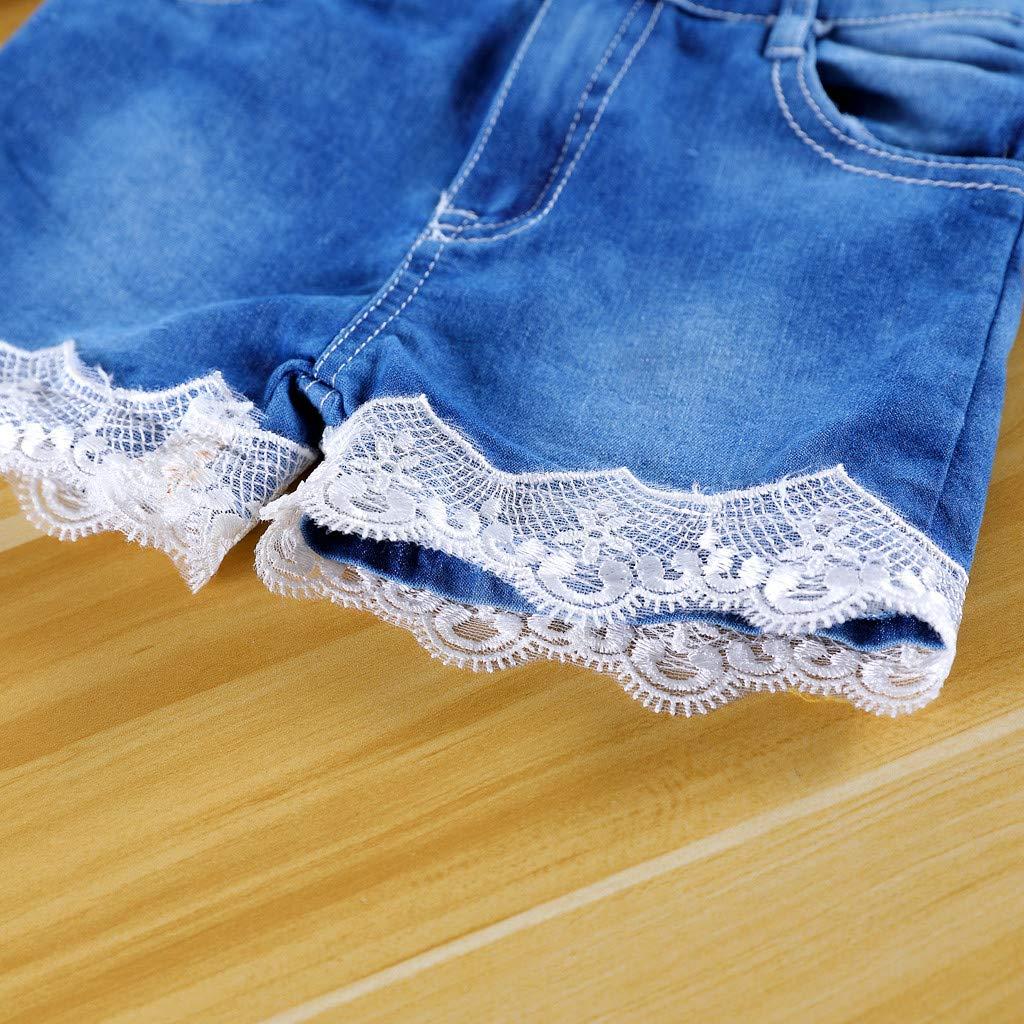 Bambino Ragazza Tops+Pantaloncini Due Pezzi Set Maglietta Bambina Estiva Manica Corta Stampa off Spalle Tee Vestiti Principessa Bello Honestyi