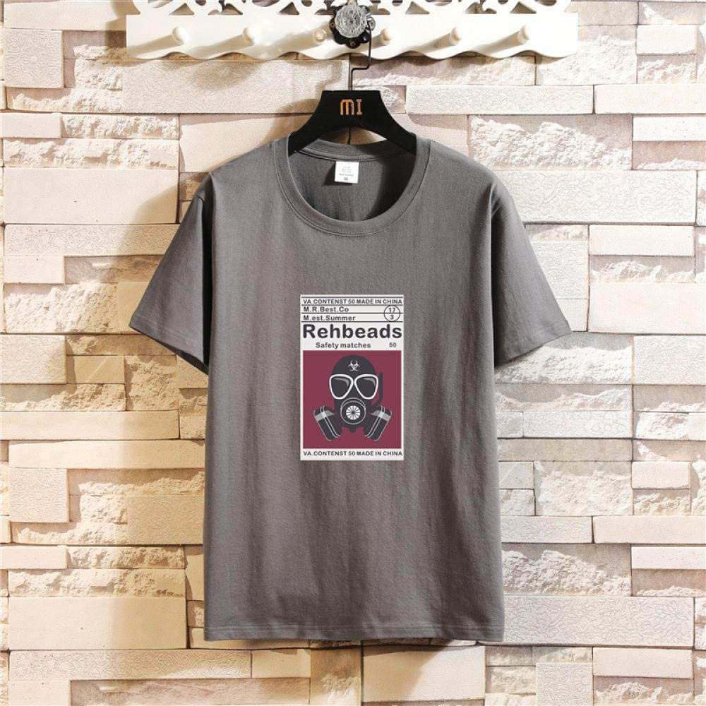ASADVE Corona Virus Cotton Short-Sleeved Printed Bottoming Shirt Men'S T-Shirt Men'S T-Shirt 2020 New-Black_5Xl Dark Gray