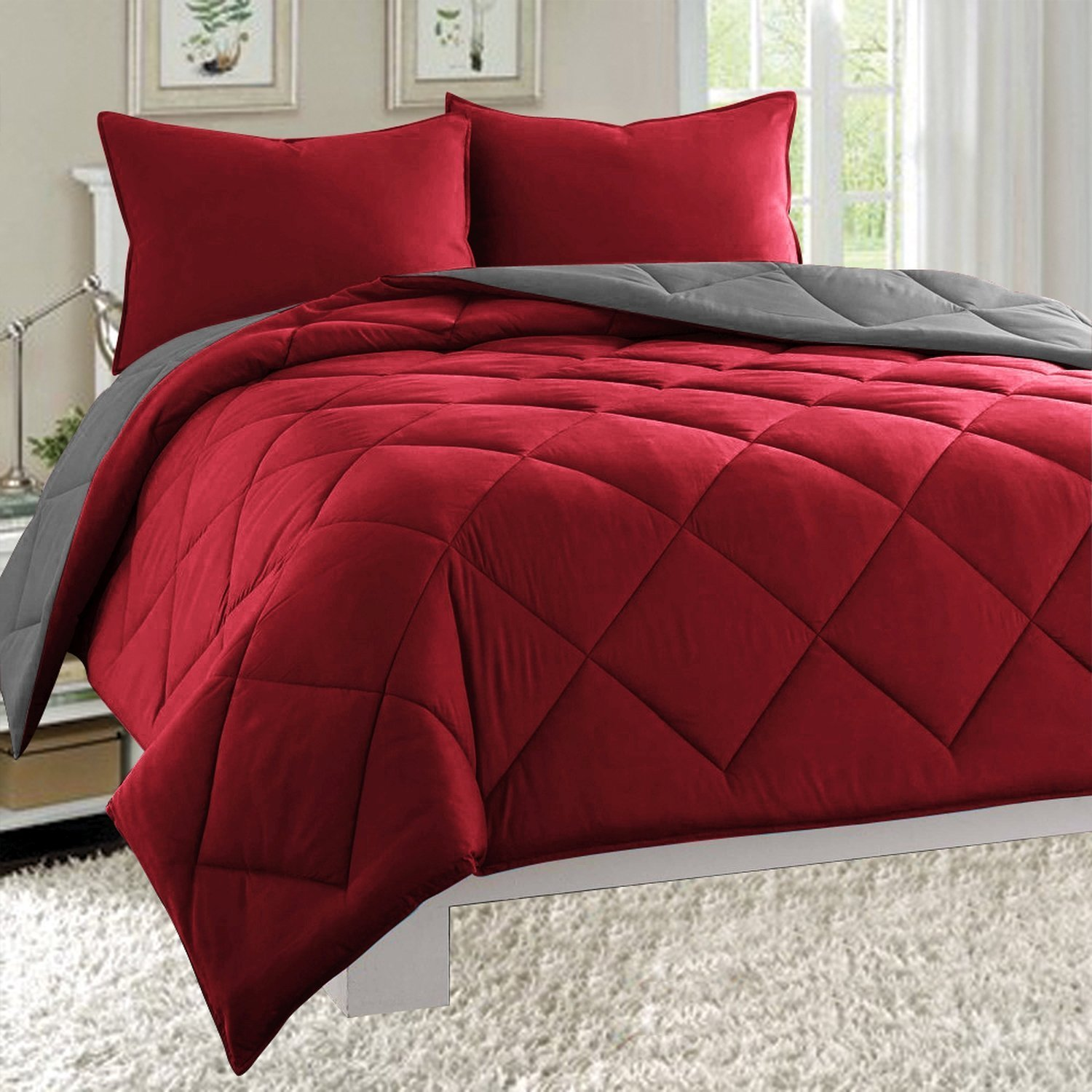 Reversible 2 Piece Comforter Set, Twin/Twin XL, Burgundy/Grey