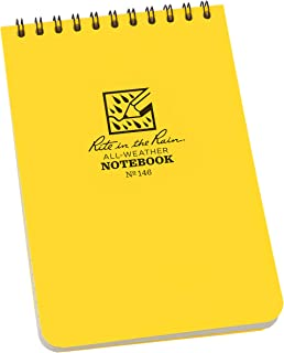 "product image for Rite in the Rain Weatherproof 4"" x 6"" Top Spiral Notebooks, Yellow Cover, Universal Pattern, 6 PACK (No. 146L6)"