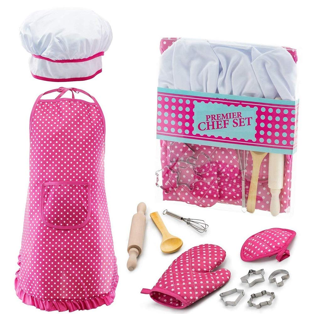 Christmas Best Gifts for 3-12 Year Old Girls Boys, DIMY Cooking and Baking set Chef Set for Boys Little Girls Kids Toddlers Popular Hot Toys for 3-12 Year Old Girls Boys Games Age 3-12 Blue DMCF2