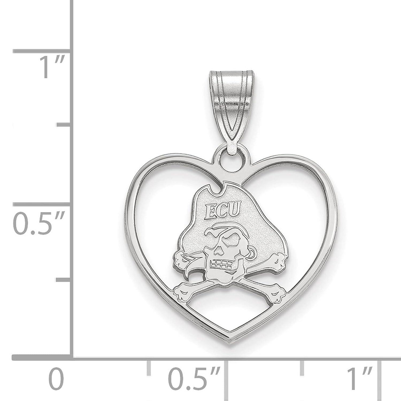 925 Sterling Silver Rhodium-plated Laser-cut East Carolina University Heart Pendant