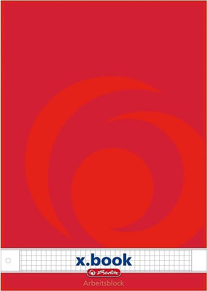 Herlitz 215434 - Lote de 5 libretas de cuadros (DIN A4, 50 hojas), varios colores: Amazon.es: Oficina y papelería