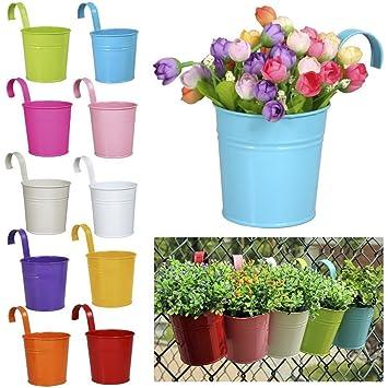 Action Marry 10 X Fer En Metal Vase Pot De Fleurs Suspendu Balcon