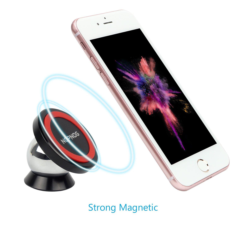 NOPNOG Soporte magnético del teléfono celular para el soporte del coche Soporte del tablero Sleek Uber Safe GPS para el iPhone X / 8 / 8Plus / 7Plus / 6 6S ...