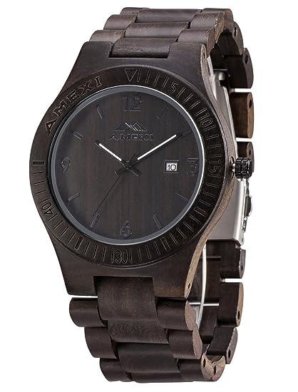 Relojes de Madera para los Hombres de 44 mm Caso Negro Natural sándalo Reloj de Pulsera con Movimiento Miyota Ventana de Fecha: Amazon.es: Relojes