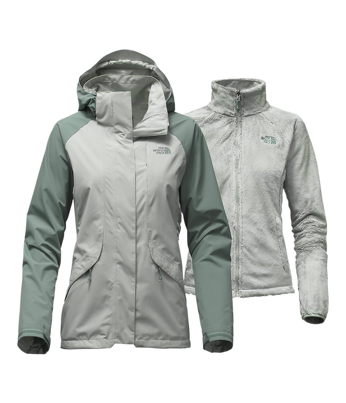 North Face Womens Boundary Triclimate Jacket Wrought Iron/Balsam Green Large (Medium)