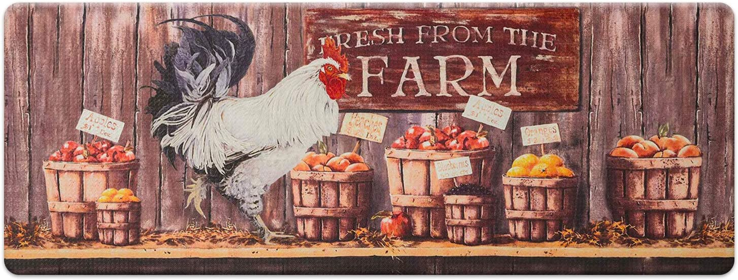 "Farmhouse Kitchen Mats Cushioned Anti-Fatigue Comfort Mat for Home & Office Ergonomically Engineered Memory Foam Kitchen Rug Waterproof Non-Skid, 47"" by 18"", Rooster"