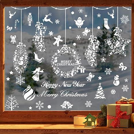 Christmas Window Decals.Joyet 253 Pcs Christmas Snowflake Window Stickers Clings Decorations White Christmas Window Decals For Kids Winter Decorations