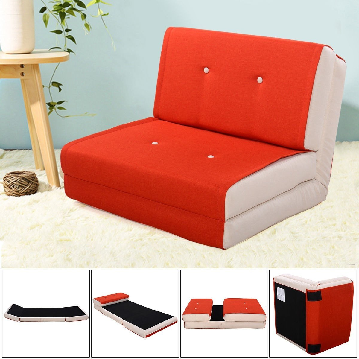 Fold Down Chair Flip Out Lounger Convertible Sleeper Bed Couch Game Dorm Orange