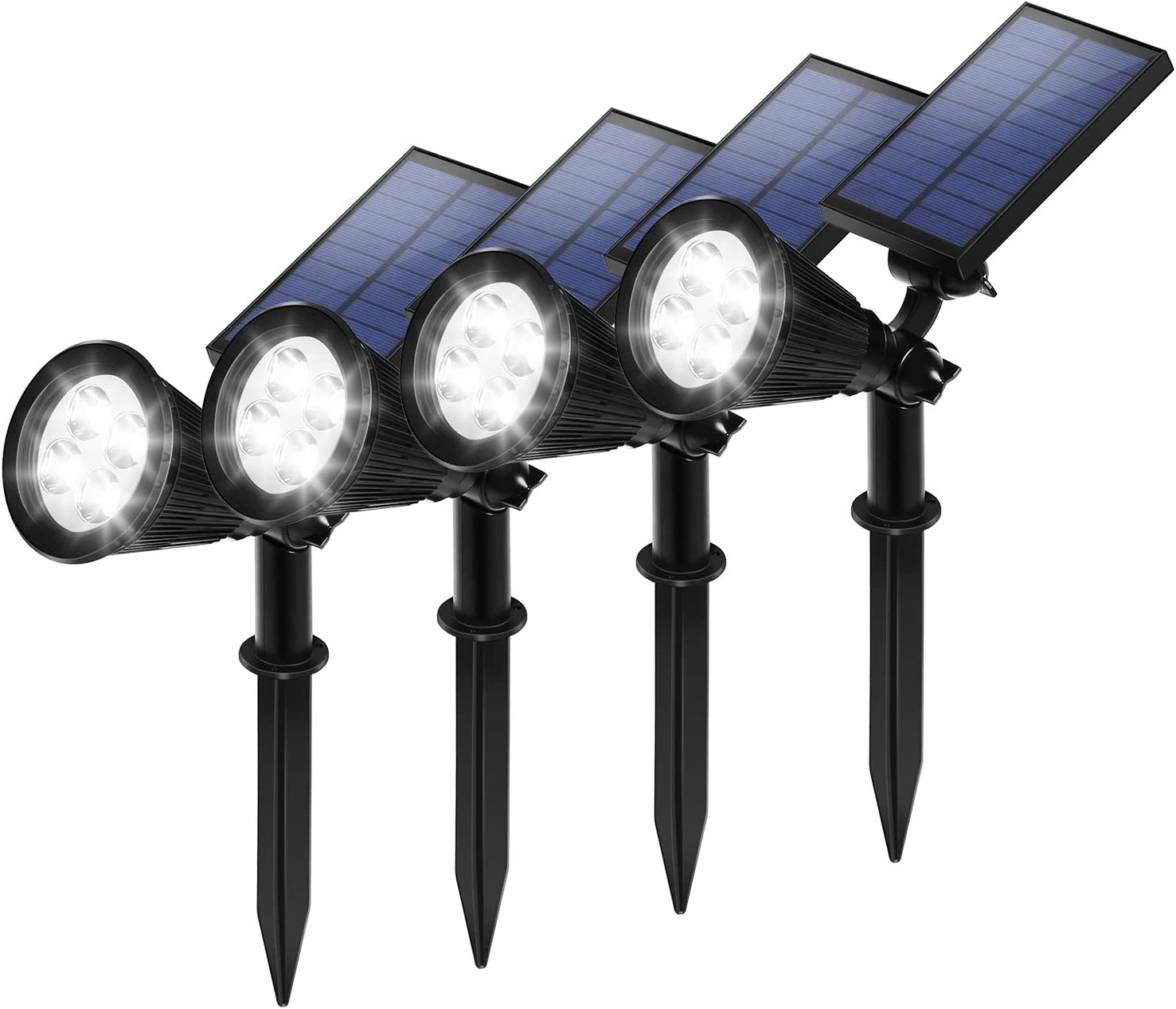 Techwood Solar lights outdoor,Upgraded Waterproof Solar Powered Spotlights,Adjustable 2-in-1 Wall Light Landscape Light,Bright and Dark Sensing Auto On/Off for Patio Yard,Garden Driveway,4 Pack(White)