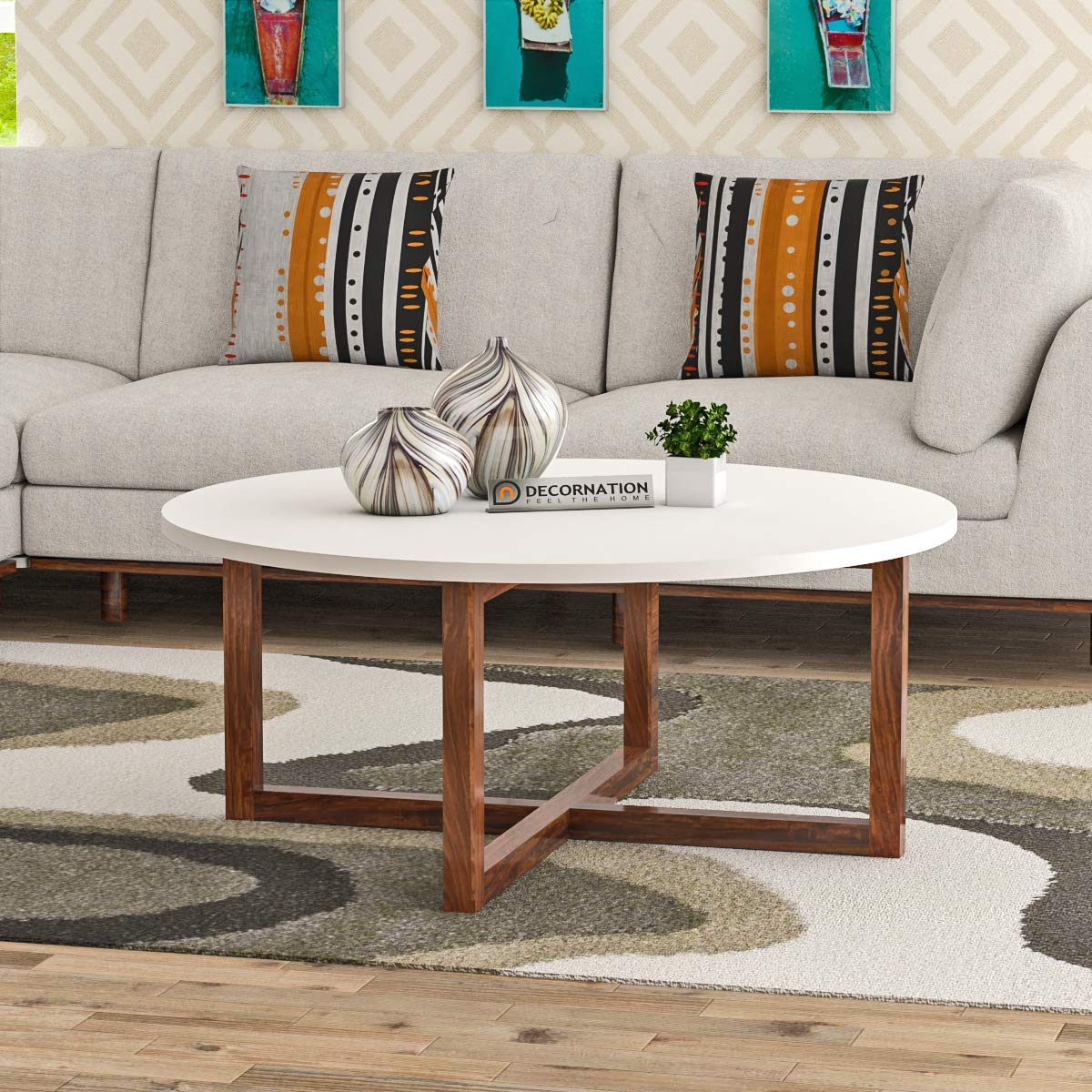 Decornation Alicea Wooden Mdf Round Coffee Table With Solid Wood Legs Sofa Table Center Table Home Furniture White Amazon In Home Kitchen