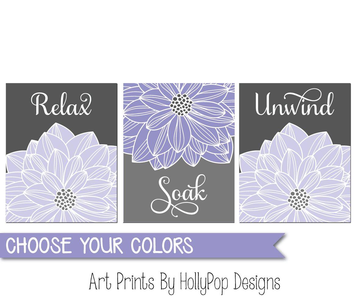 Amazon.com: Relax Soak Unwind, Bathroom Wall Prints, Bathroom Decor, Bathroom  Wall Art, Bath Art Prints, Purple Gray Bathroom Decor, Spa Art, Purple ...