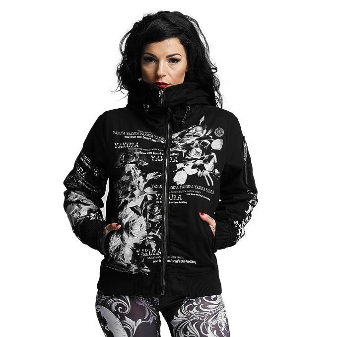 Yakuza Damen Winterjacke Flower Heavy Bomber Jacke schwarz fällt normal aus, kurzer Schnitt