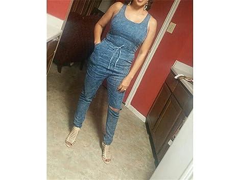 e91e7dfb0a9a Amazon.com  Puissant Fashion Denim Jumpsuit Long Pants Bodysuit Blue Jean  Jumpsuits for Women Fall Outfits One Piece Denim Overalls  Clothing