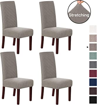 H.VERSAILTEX Dining Chair Slipcover High Stretch Jacquard Dining Room Chair  Slipcovers Sets Washable Removable Chair Slipcover Dining Chair Protector  ...