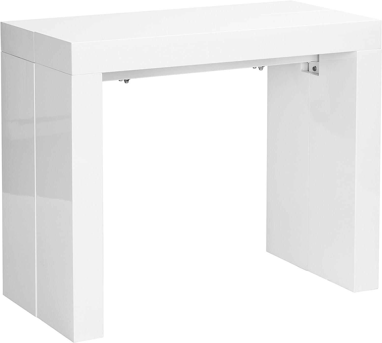 Desconocido Mesa Extensible Lacado Blanco Brillo 200X90X75 CM: Amazon.es: Hogar