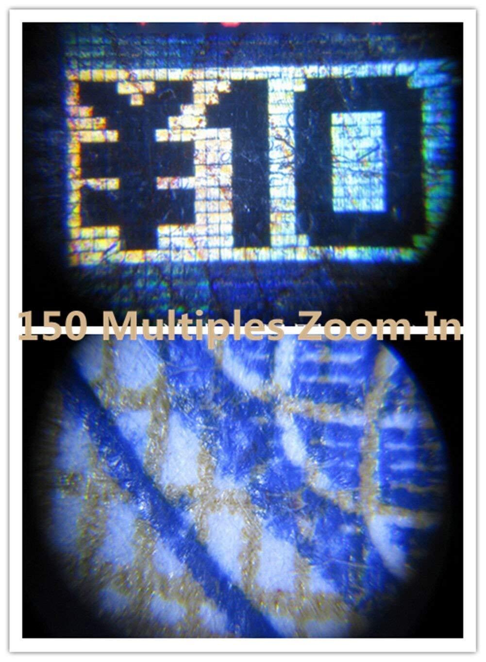 ZHJFDJ Lupa 150 Veces Tubo con Microscopio Microsc/ópico De Bolsillo De Escala L/ámpara LED Lupa De Gran Aumento