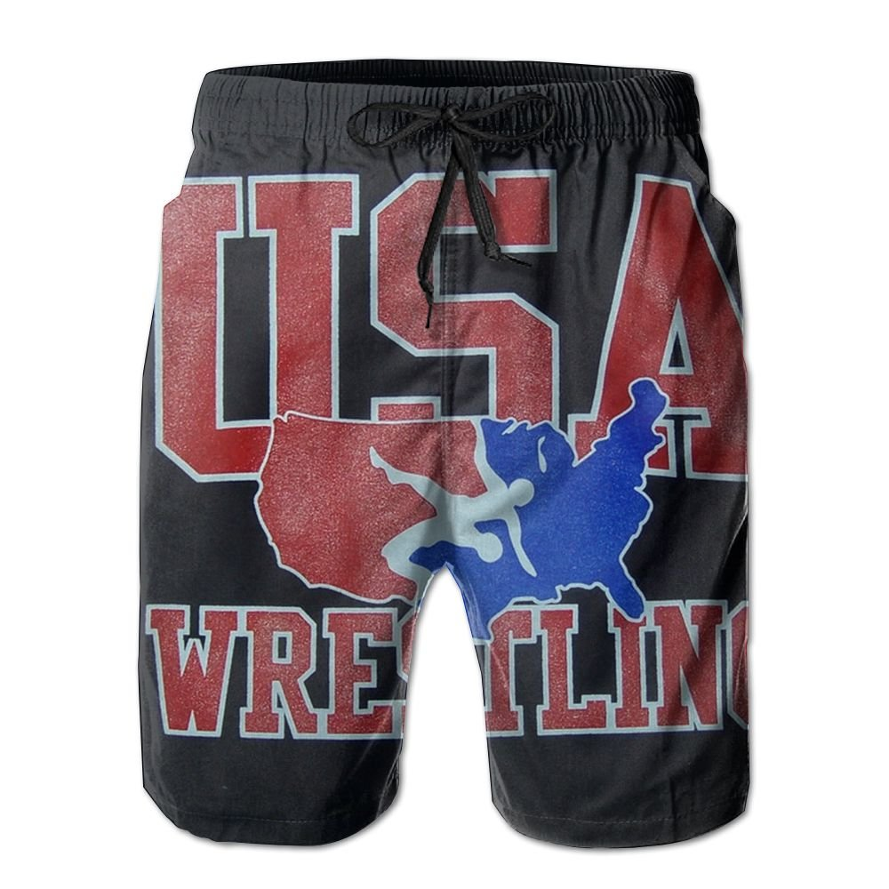 Oct USA Wrestling Logo Drawstring Closure Mens Boardshorts Swim Trunks Tropical Running Board Shorts Swimming Watershort by Oct