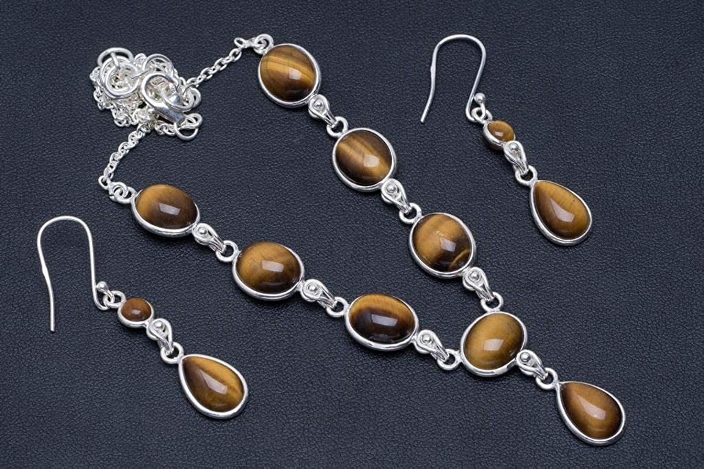 Natural Tiger Eye 925 Sterling Silver Jewelry Set Necklace 17.25 Earrings 1.75 A3485